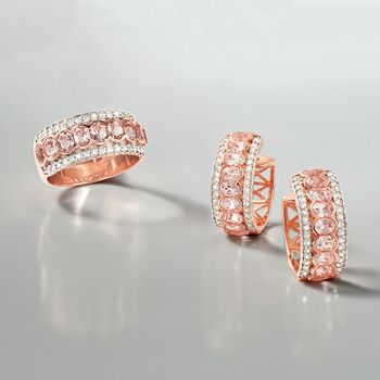 """2.80 ct. t.w. Morganite and .60 ct. t.w. White Zircon Hoop Earrings in 18kt Rose Gold Over Sterling Silver. 3/4"""""""
