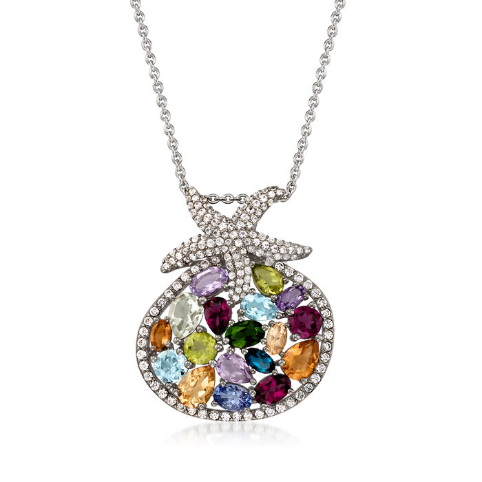 11.00 ct. t.w. Multi-Gemstone Starfish Pendant Necklace in Sterling Silver
