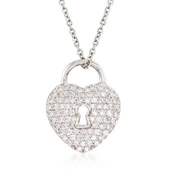 "C. 2000 Vintage Tiffany Jewelry .28 ct. t.w. Diamond Heart Lock Pendant Necklace in Platinum. 16"", , default"