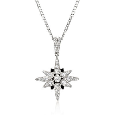 1.40 ct. t.w. White Topaz and Black Enamel Starburst Pendant Necklace