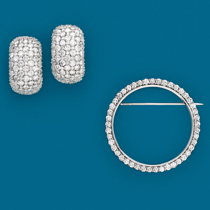 2.00 ct. t.w. Diamond Eternity Circle Pin in 14kt White Gold
