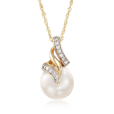 10-10.5mm Cultured South Sea Pearl Pendant Necklace with Diamond Accents in 14kt Yellow Gold, , default
