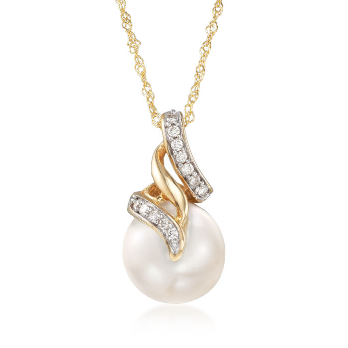 10-10.5mm Cultured South Sea Pearl Pendant Necklace with Diamond Accents in 14kt Yellow Gold