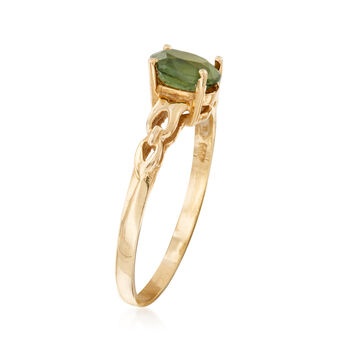 C. 1980 Vintage .65 Carat Green Sapphire Ring in 14kt Yellow Gold. Size 5.25, , default