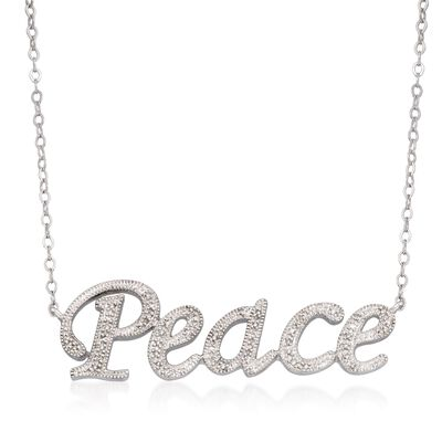 ".15 ct. t.w. Diamond ""Peace"" Necklace in Sterling Silver"