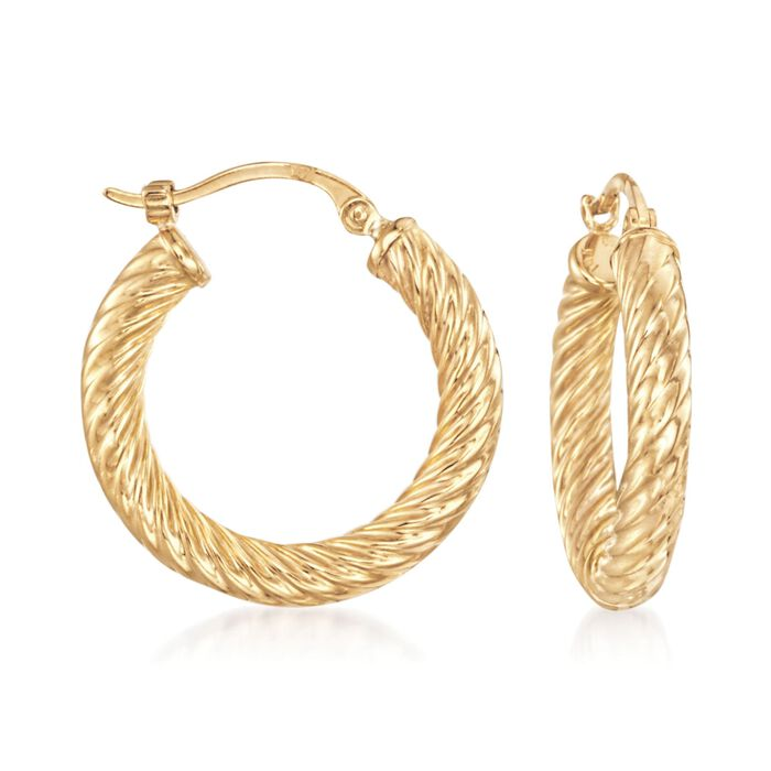 14kt Yellow Gold Twisted Hoop Earrings
