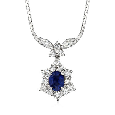 C. 1990 Vintage .89 Carat Sapphire and .95 ct. t.w. Diamond Drop Necklace in Platinum