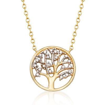 18kt Gold Over Sterling Silver Tree of Life Necklace with CZ Accent, , default