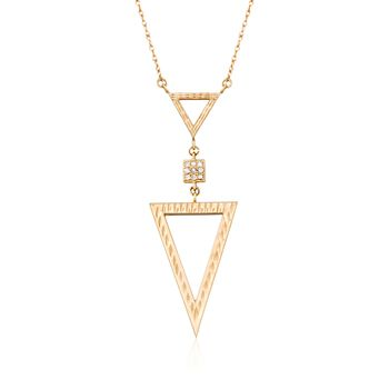 "14kt Yellow Gold Open Triangle Necklace With Diamond Accents. 18"", , default"