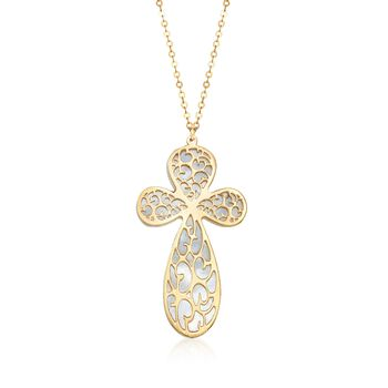 """Italian Mother-Of-Pearl Filigreed Cross Drop Necklace in 14kt Yellow Gold. 18"""", , default"""