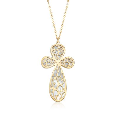 Italian Mother-Of-Pearl Filigreed Cross Drop Necklace in 14kt Yellow Gold, , default