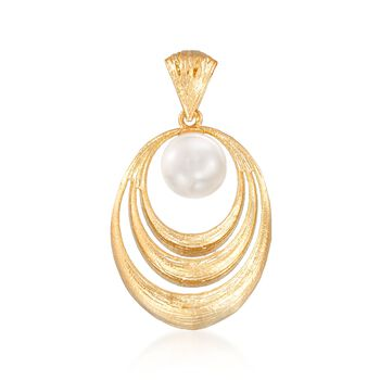 Italian 10mm Cultured Pearl Textured Oval Pendant in 18kt Gold Over Sterling, , default