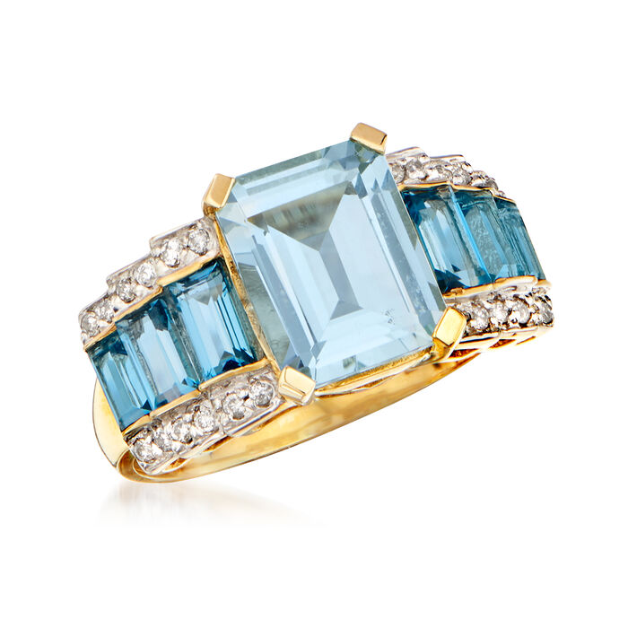 2.30 Carat Aquamarine, 1.30 ct. t.w. Blue Topaz and .13 ct. t.w. Diamond Ring in 14kt Yellow Gold