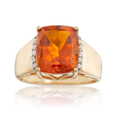 5.00 ct. t.w. Citrine and .10 ct. t.w. Diamond Ring in 14kt Yellow Gold, , default