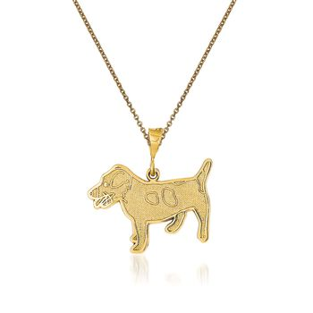 """14kt Yellow Gold Jack Russell Terrior Dog Pendant Necklace. 18"""", , default"""