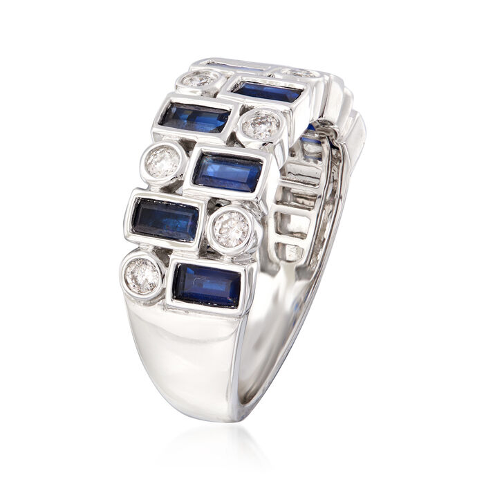 1.50 ct. t.w. Sapphire and .30 ct. t.w. Diamond Ring in 14kt White Gold