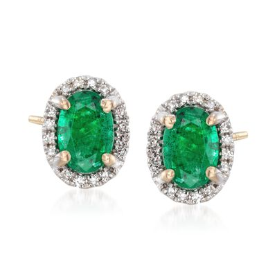 .80 ct. t.w. Emerald Stud Earrings with Diamond Accents in 14kt Yellow Gold