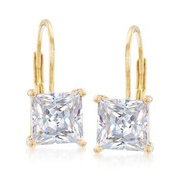 3.00 ct. t.w. Bezel-Set Princess-Cut CZ Drop Earrings in 14kt Yellow Gold , , default