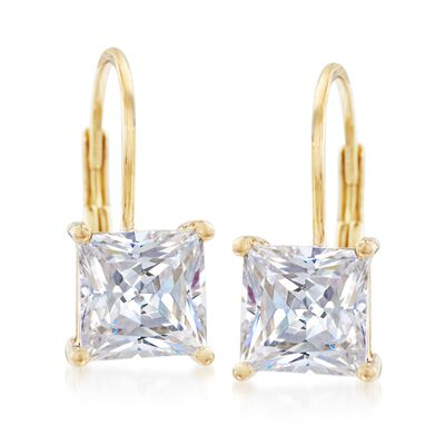 3.00 ct. t.w. Bezel-Set Princess-Cut CZ Drop Earrings in 14kt Yellow Gold, , default