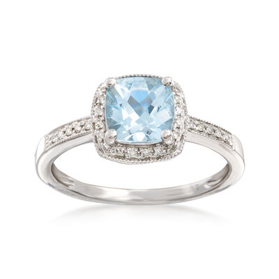 1.20 Carat Aquamarine and .15 ct. t.w. Diamond Ring in 14kt White Gold, , default