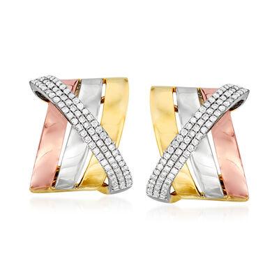 .60 ct. t.w. Diamond Sash J-Hoop Earrings in 14kt Tri-Colored Gold