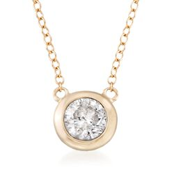 ".60 Carat Bezel-Set Diamond Necklace in 14kt Yellow Gold. 16"", , default"