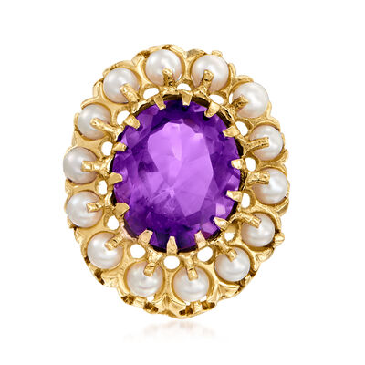 C. 1960 Vintage 2.8-3mm Cultured Pearl and 4.25 Carat Amethyst Ring in 14kt Yellow Gold