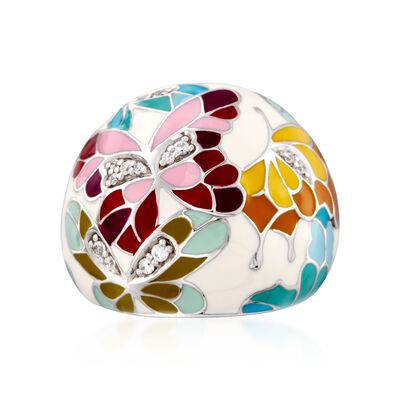 "Belle Etoile ""Butterfly Kisses"" .15 ct. t.w. CZ and Ivory Enamel Ring in Sterling Silver, , default"