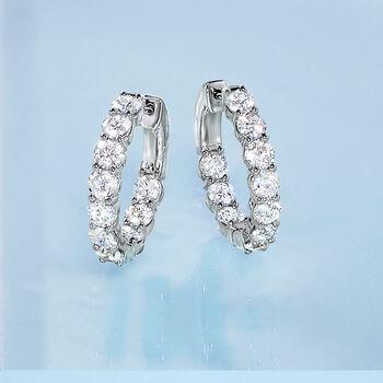 "4.00 ct. t.w. Diamond Inside-Outside Hoop Earrings in Platinum. 3/4"", , default"