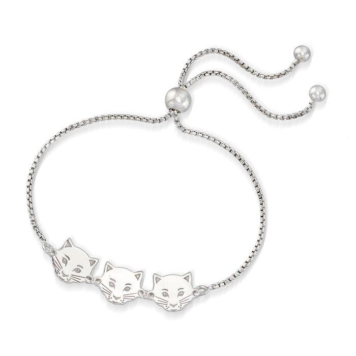 Italian Sterling Silver Cat Trio Bolo Bracelet