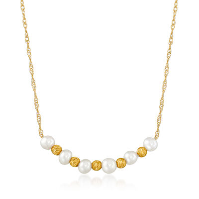 3-3.5mm Cultured Pearl Curved Necklace in 14kt Yellow Gold