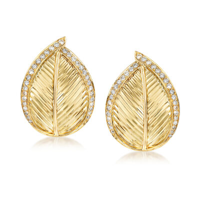 C. 1980 Vintage 1.00 ct. t.w. Diamond Leaf Earrings in 18kt Yellow Gold, , default