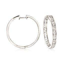 1.50 ct. t.w. Channel-Set Diamond Hoop Earrings in 14kt White Gold, , default