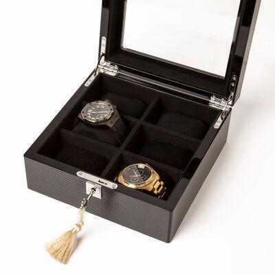 Brouk & Co. Brown Carbon Fiber 6-Watch Holder, , default