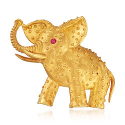 C. 1970 Vintage 18kt Yellow Gold Elephant Pin With a Ruby Eye , , default