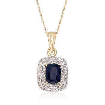 """1.90 Carat Sapphire and .31 ct. t.w. Diamond Pendant Necklace in 14kt Yellow Gold. 18"""", , default"""