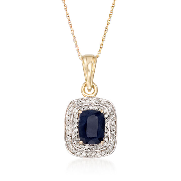 "1.90 Carat Sapphire and .31 ct. t.w. Diamond Pendant Necklace in 14kt Yellow Gold. 18"", , default"