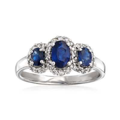 .90 ct. t.w. Sapphire and .26 ct. t.w. Diamond Three-Stone Ring in 14kt White Gold, , default