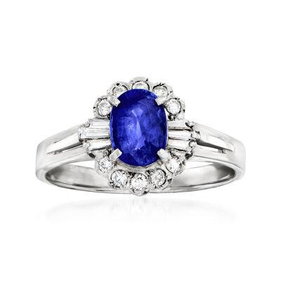 C. 1980 Vintage 1.00 Carat Sapphire and .22 ct. t.w. Diamond Ring in Platinum