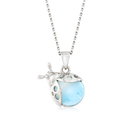 Larimar Ladybug Pendant Necklace in Sterling Silver, , default