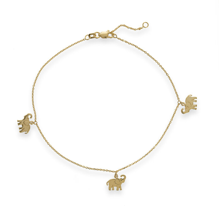 14kt Yellow Gold Elephant Trio Dangle Anklet