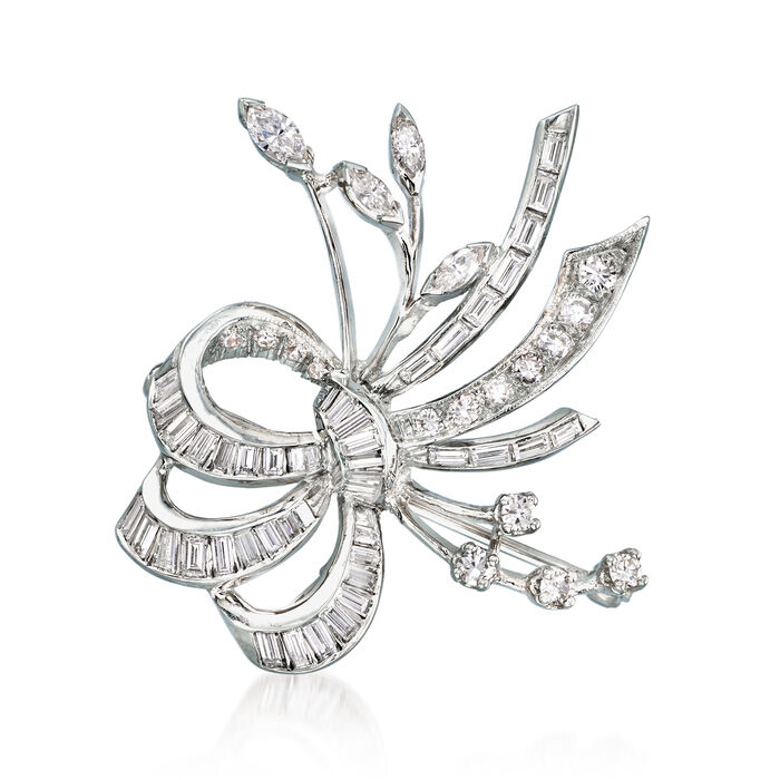 C. 1970 Vintage 2.95 ct. t.w. Diamond Bow Pin in 14kt White Gold