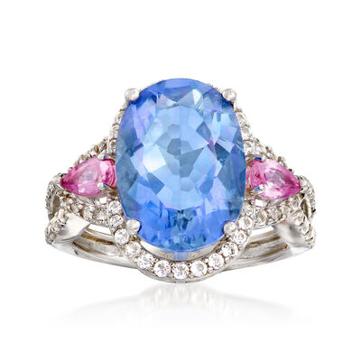 6.75 Carat Blue Fluorite and .58 ct. t.w. White Topaz Ring with Pink Sapphires in Sterling, , default
