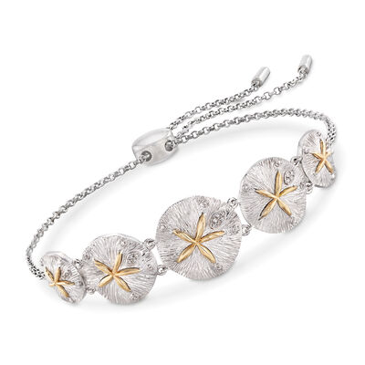 Sterling Silver and 14kt Yellow Gold Sand Dollar Bolo Bracelet