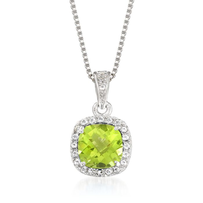 1.00 Carat Peridot and .10 ct. t.w. White Topaz Pendant Necklace in Sterling Silver