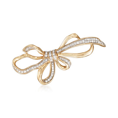 .33 ct. t.w. Diamond Bow Pin in 14kt Yellow Gold