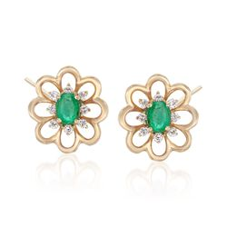 .30 ct. t.w. Emerald and .15 ct. t.w. Diamond Flower Earrings in 18kt Yellow Gold, , default