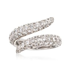 "Roberto Coin ""Fantasia"" 2.40 ct. t.w. Diamond Cobra Bypass Ring in 18kt White Gold. Size 6.5, , default"