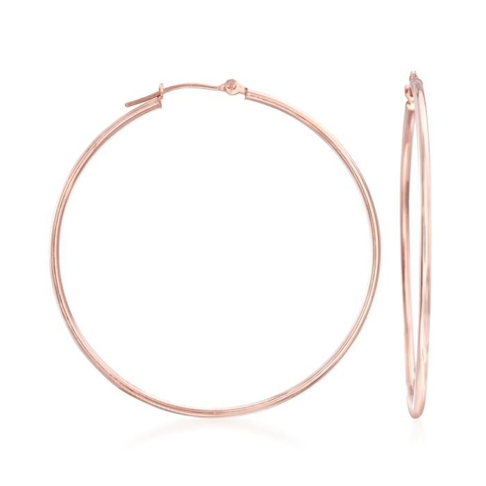"1.5mm 14kt Rose Gold Large Hoop Earrings. 1 5/8"""