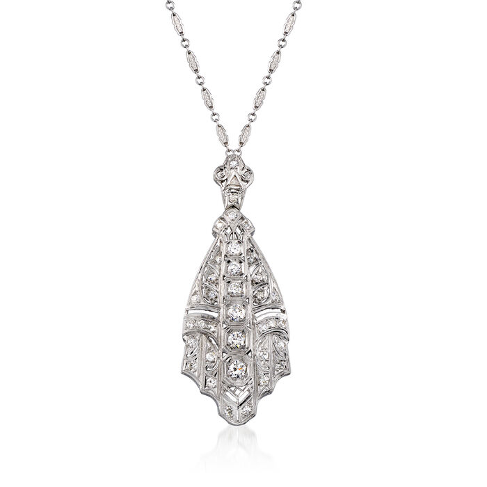C. 1990 Vintage 1.65 ct. t.w. Diamond Pendant Necklace in Platinum and 14kt White Gold. 18""
